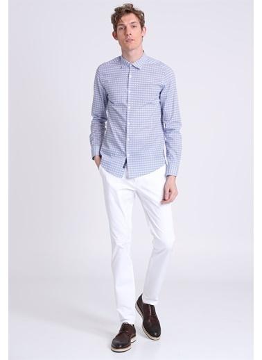 Lufian Uzun Kollu Desenli Slim Fit Gömlek Saks